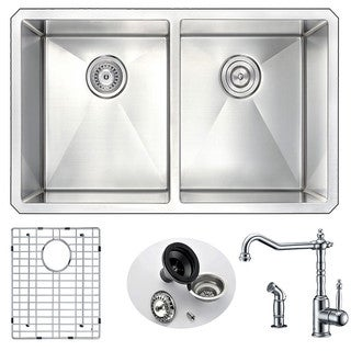 Link to ANZZI Vanguard Undermount Stainless Steel 32-inch Double Bowl Kitchen Sink and Faucet Set with Polished Chrome Locke Faucet Similar Items in Safety Gear