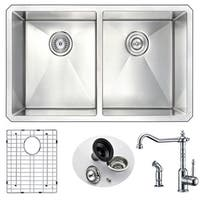 Anzzi Vanguard Undermount Stainless Steel 32-inch Double Bowl Kitchen Sink and Faucet Set with Polished Chrome Locke Faucet