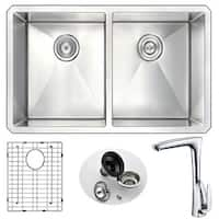 Anzzi Vanguard Stainless Steel and Polished Chrome Timbre Faucet 32-inch Undermount Double-bowl Kitchen Sink