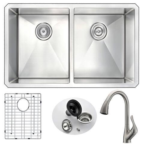 ANZZI Vanguard Silvertone Stainless Steel Double-bowl Undermount Kitchen Sink