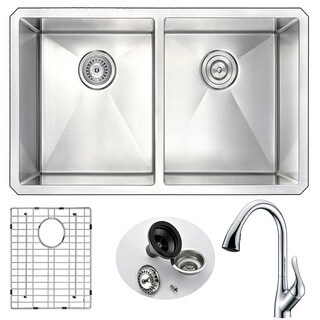 Anzzi Vanguard Silvertone Stainless Steel Undermount Double-bowl Kitchen Sink and Faucet Set