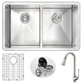 ANZZI Vanguard Undermount Brushed Nickel Stainless Steel 32-inch Double Bowl Kitchen Sink and Singer Faucet Set