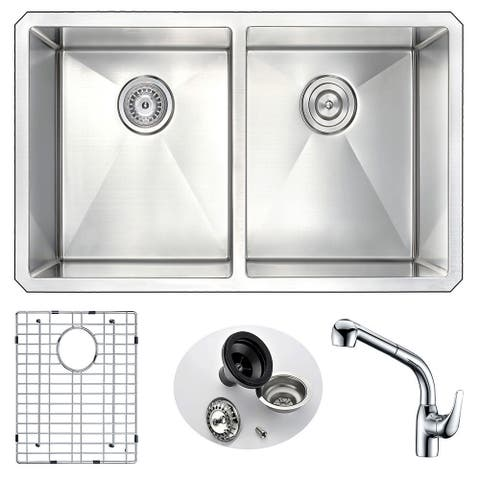 ANZZI VANGUARD Undermount Stainless Steel 32 in. Double Bowl Kitchen Sink and Faucet Set with Chrome Harbour Faucet