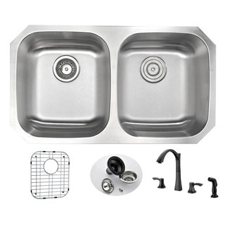 Anzzi Moore Stainless Steel 32-inch Undermount Double-bowl Kitchen Sink and Faucet Set with Soave Oil-rubbed Bronze Faucet