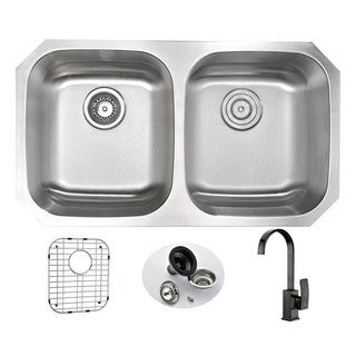 Anzzi Moore Undermount Oil Rubbed Bronze Stainless Steel 32-inch Double Bowl Kitchen Sink and Opus Faucet Set