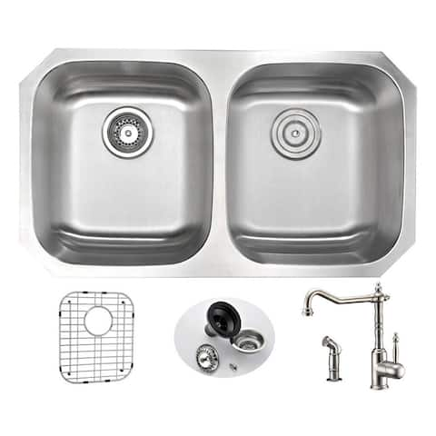 ANZZI Moore Undermount Stainless Steel 32-inches Double Bowl Kitchen Sink and Faucet Set with Locke Faucet in Brushed Nickel