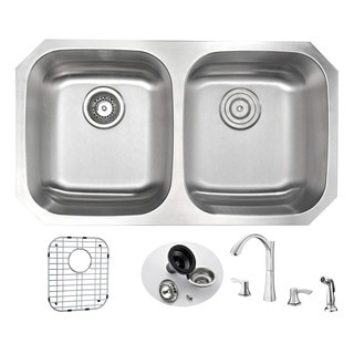 Anzzi Moore Stainless Steel 32-inch Undermount Double-bowl Kitchen Sink and Faucet Set with Soave Brushed Nickel Faucet