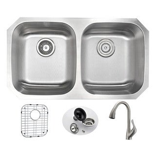 Anzzi Moore Silvertone Stainless Steel Double-bowl Kitchen Sink and Faucet Set