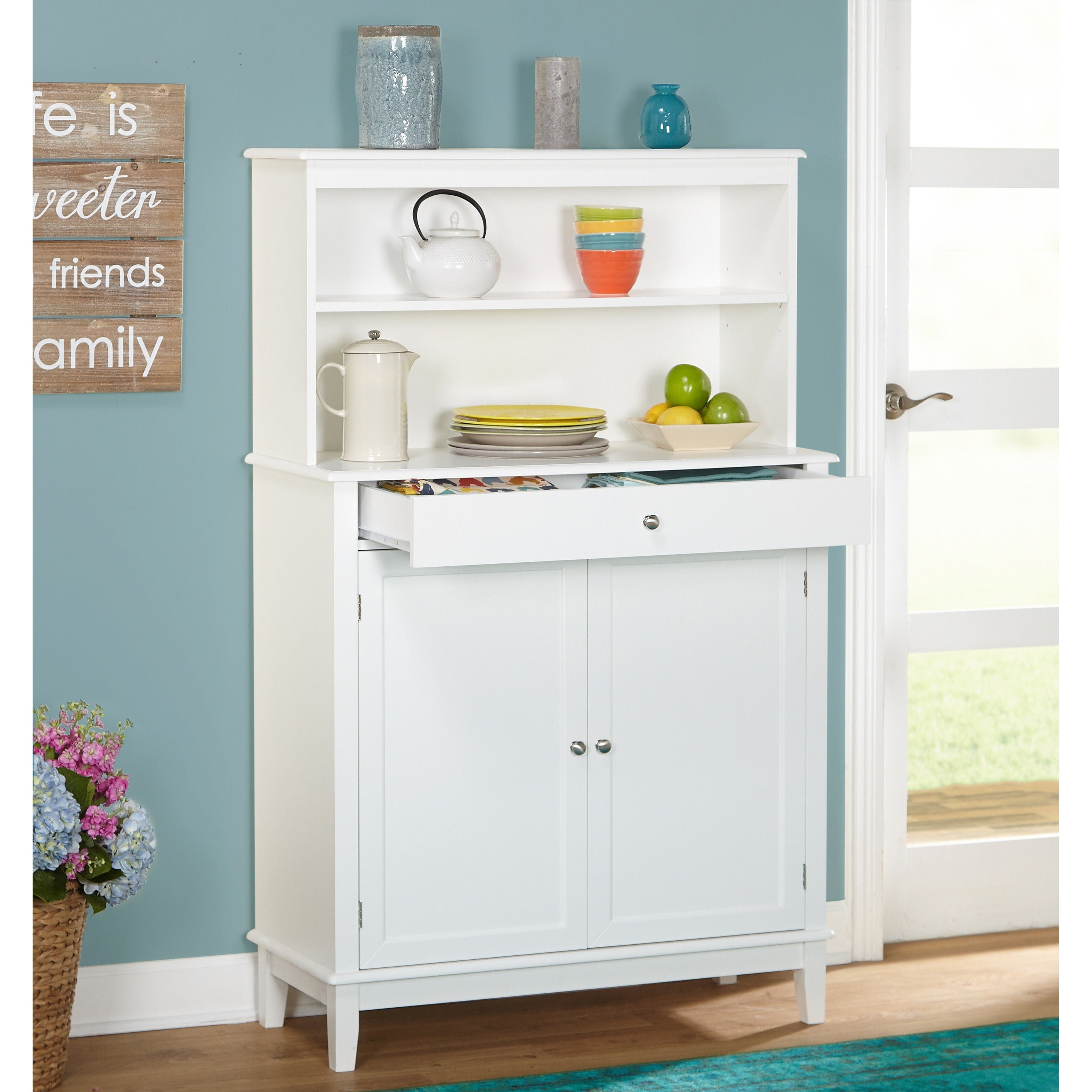 Simple Living Farmhouse Buffet With Hutch Overstock 13776836