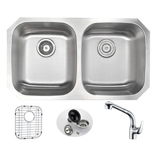 Anzzi Moore Stainless Steel 32-inch Undermount Double Bowl Kitchen Sink With Harbour Polished Chrome Faucet