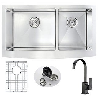 Anzzi Elysian Farmhouse Oil Rubbed Bronze Finish Stainless Steel 33-inch Double Bowl Kitchen Sink and Opus Faucet Set