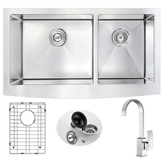 Anzzi Elysian Stainless Steel 33 in. Double Kitchen Sink with Opus Faucet in Brushed Nickel