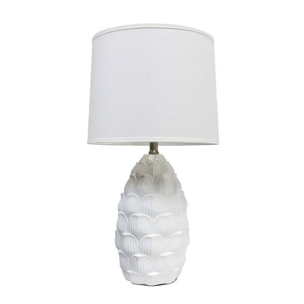 Captivating Elegant Designs White Resin Table Lamp W/ Fabric Shade