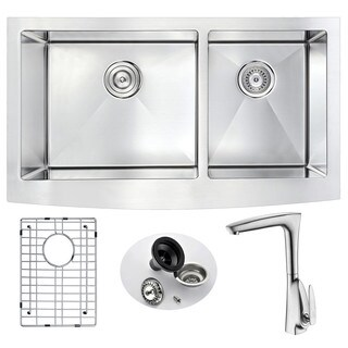Anzzi Elysian 60/40 Stainless Steel 33 in. Double Kitchen Sink and Timbre Faucet Set