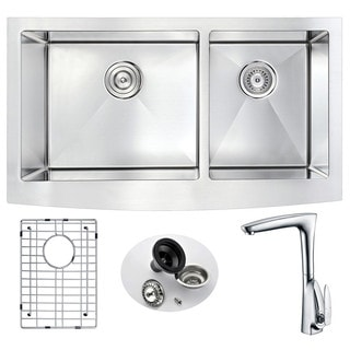 Anzzi Elysian Stainless Steel 33 in. 60/40 Bowl Kitchen Sink with Timbre Faucet in Polished Chrome