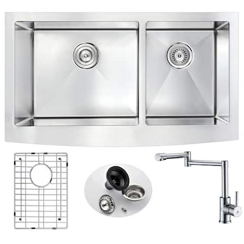 ANZZI Elysian Stainless Steel 33 in. Double Kitchen Sink with Manis Faucet