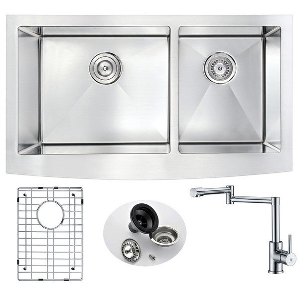 ANZZI Elysian Stainless Steel 33 in. Double Kitchen Sink with Manis Faucet. Opens flyout.