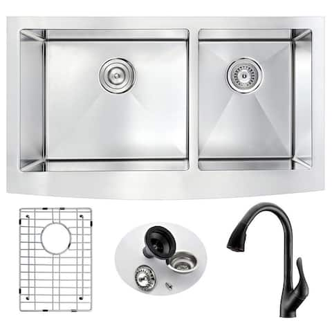 """ANZZI Elysian 33"""" Farmhouse Double Bowl Kitchen Sink with Oil Rubbed Bronze Faucet"""