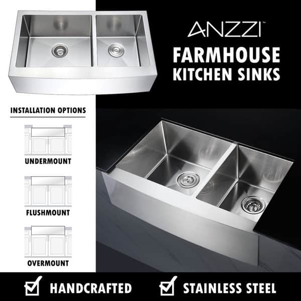 Anzzi Elysian 33 Farmhouse Double Bowl Kitchen Sink With Oil Rubbed Bronze Faucet Overstock 13776858