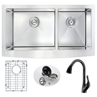 Anzzi Elysian Farmhouse-Style Stainless Steel 33 in. Kitchen Sink with Oil Rubbed Bronze Faucet