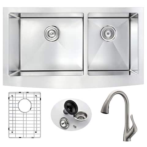 """ANZZI Elysian 33"""" Farmhouse Double Bowl Kitchen Sink with Brushed Nickel Faucet"""