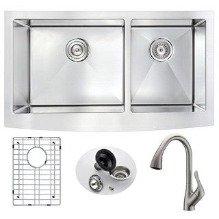Anzzi Elysian Farmhouse Stainless Steel 33 in. Double Kitchen Sink with Brushed Nickel Faucet