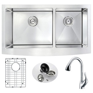 "Link to ANZZI Elysian 33"" Farmhouse Double Bowl Kitchen Sink and Faucet Similar Items in Sinks"