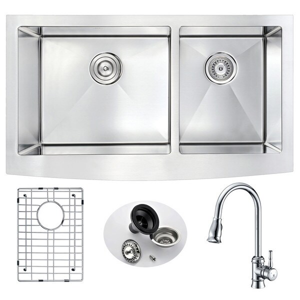 Anzzi Elysian Stainless Steel 33 in. Farmhouse Kitchen Sink with Sails Faucet