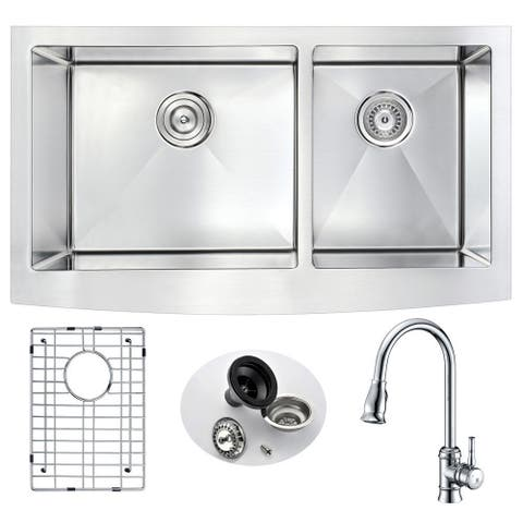 "ANZZI Elysian 33"" Farmhouse Double Bowl Kitchen Sink with Sails Faucet"