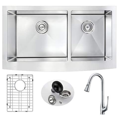 "ANZZI Elysian 33"" Farmhouse Double Bowl Kitchen Sink with Singer Faucet"