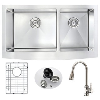 Anzzi Elysian Stainless Steel 33-inch Double Bowl Farmhouse Kitchen Sink With Sails Brushed Nickel Faucet