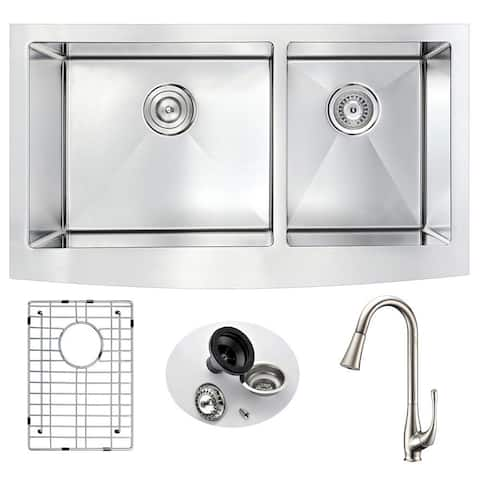 """ANZZI Elysian 33"""" Farmhouse Double Bowl Kitchen Sink with Brushed Nickel Singer Faucet"""