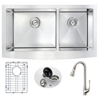 Anzzi Elysian Farmhouse Stainless Steel 33 in. Double Kitchen Sink with Brushed Nickel Singer Faucet