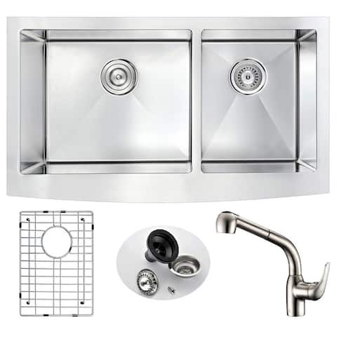 ANZZI Elysian Stainless Steel 33 in. Farmhouse Kitchen Sink with Harbour Faucet in Brushed Nickel
