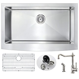Anzzi Elysian Farmhouse Stainless Steel 36-inch 0-hole Kitchen Sink and Faucet Set with Locke Faucet in Brushed Nickel