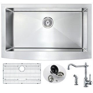Anzzi Elysian Stainless Steel and Polished Chrome Locke Faucet 36-inch 0-hole Farmhouse Kitchen Sink
