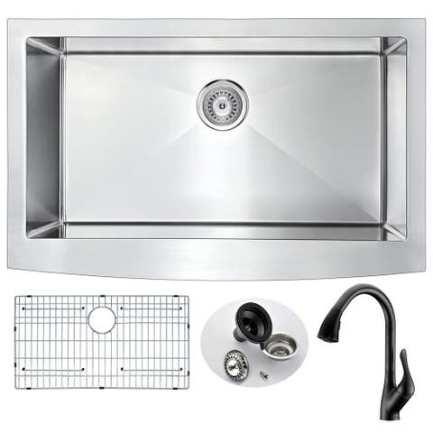 ANZZI Elysian Farmhouse Stainless Steel 36-inch Kitchen Sink with Oil Rubbed Bronze Accent Faucet