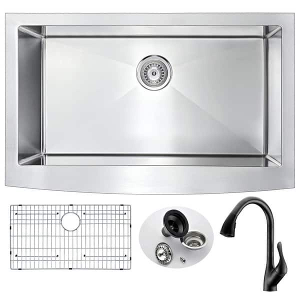 Anzzi Elysian Farmhouse Stainless Steel 36 Inch Kitchen Sink With Oil Rubbed Bronze Accent Faucet Overstock 13776881