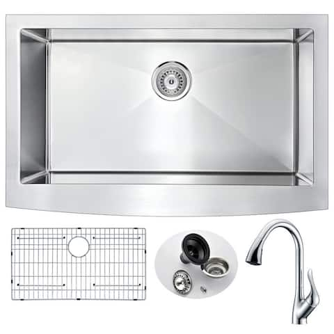 ANZZI Elysian Polished Chrome Stainless Steel 36-inch Accent Faucet Farmhouse Kitchen Sink