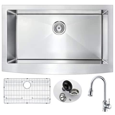 ANZZI Elysian Stainless Steel 36-inch Farmhouse Kitchen Sink with Polished Sails Faucet