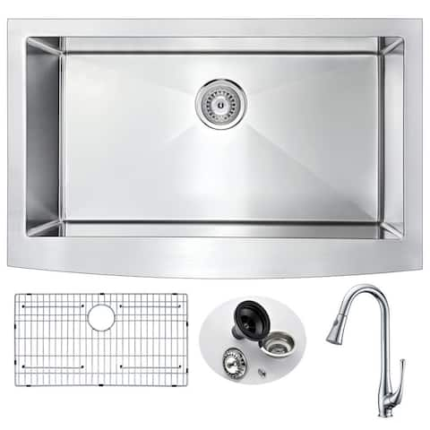 ANZZI Elysian Farmhouse Stainless Steel 36-inch 0-hole Kitchen Sink and Faucet Set with Singer Polished Chrome Faucet