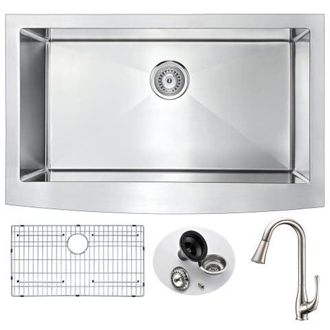 ANZZI Elysian Farmhouse Silver Stainless Steel 36-inch Kitchen Sink with Singer Brushed Nickel Faucet