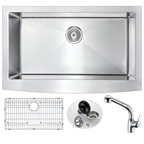 ANZZI Elysian Farmhouse Stainless Steel 36-inch Undermount Kitchen Sink and Harbour Faucet Set
