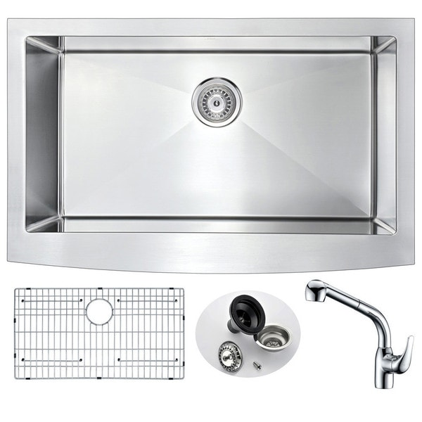 anzzi elysian farmhouse stainless steel 36 inch undermount kitchen rh overstock com undermount kitchen sink for 36 inch cabinet 36 inch undermount double kitchen sink
