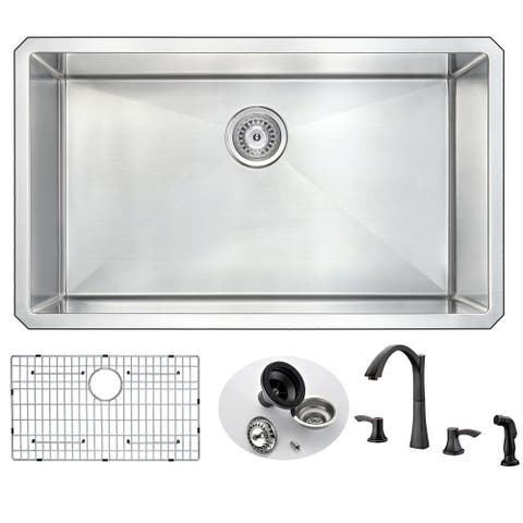 """ANZZI Vanguard 32"""" Undermount Single Bowl Kitchen Sink and Soave Faucet"""
