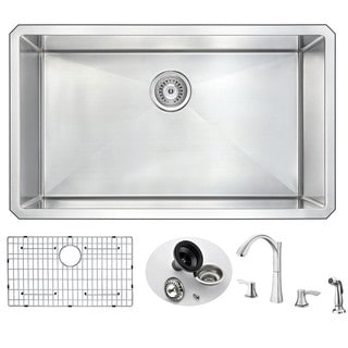 Anzzi Vanguard Silvertone Stainless Steel Undermount Single-bowl Kitchen Sink with Soave Faucet