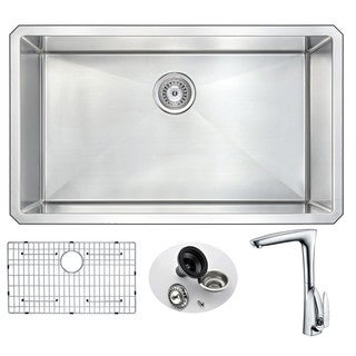 Anzzi Vanguard Undermount Stainless Steel 32-inch Single Bowl Kitchen Sink and Timbre Faucet Set