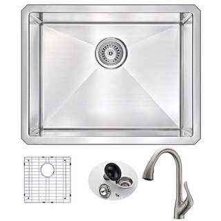 Anzzi Vanguard Undermount Brushed Nickel Stainless Steel 23-inch Single Bowl Kitchen Sink and Accent Faucet Set