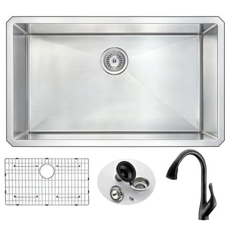 """ANZZI Vanguard 32"""" Undermount Single Bowl Kitchen Sink with Bronze Accent Faucet"""