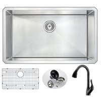 ANZZI VANGUARD Undermount Stainless Steel 32-inch 0-Hole Kitchen Sink and Faucet Set